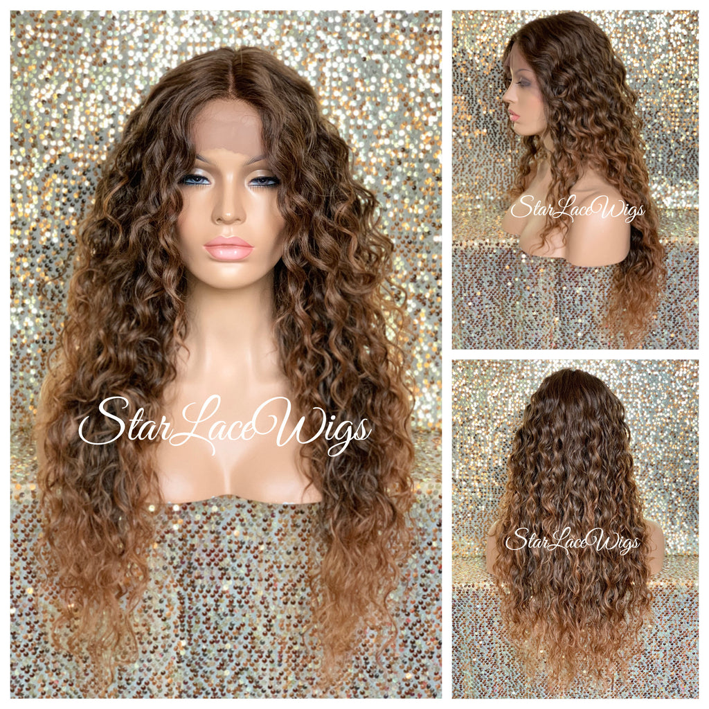 Lace Front Wig Long Wavy Curly Middle Part Brown #27 - Mindy