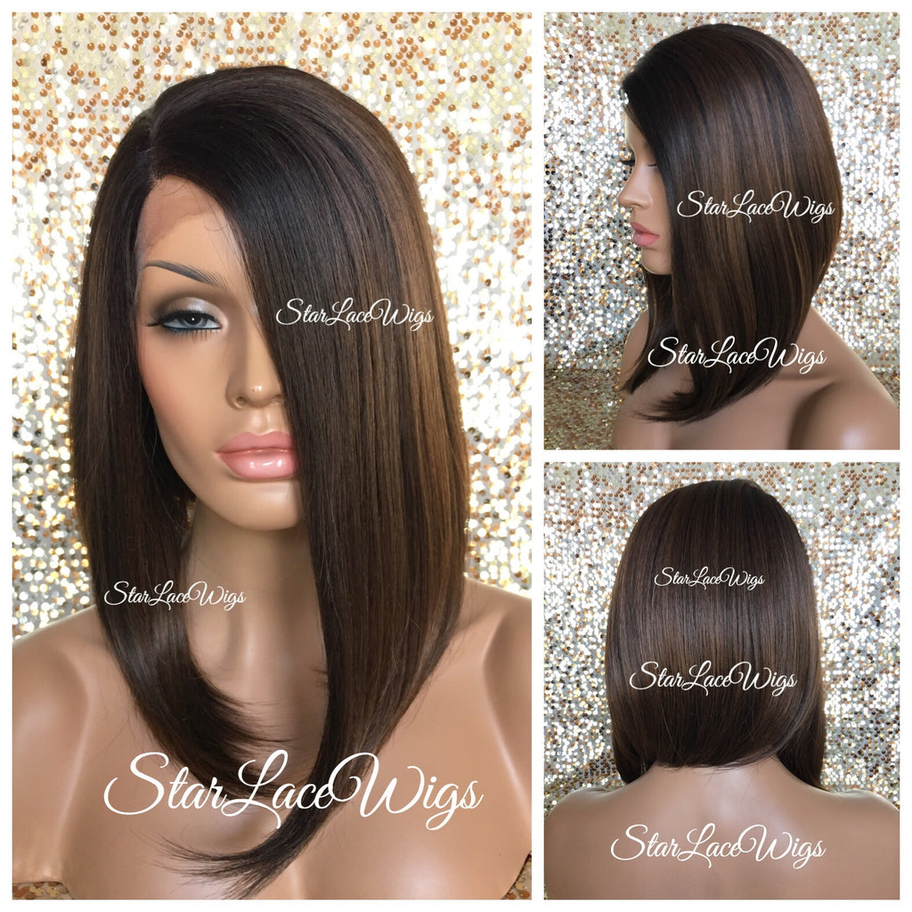 Lace Front Wig Angled Bob Straight Brown Wig  Freda  3bb75e718