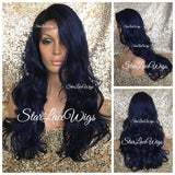 Lace Front Wig Human Hair Blend Blue Black Roots Curly Layered - Hailey