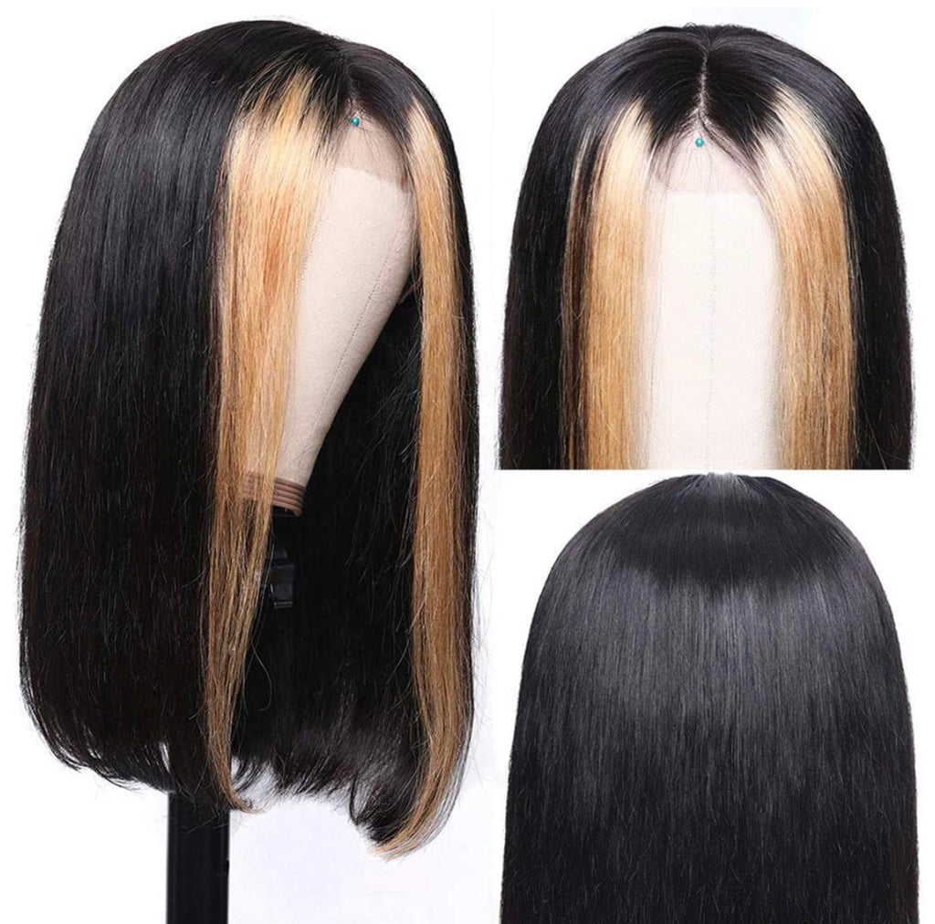 Human Hair Bob Lace Front Wig 13x4 Straight #1b #27 Highlights - Genesis