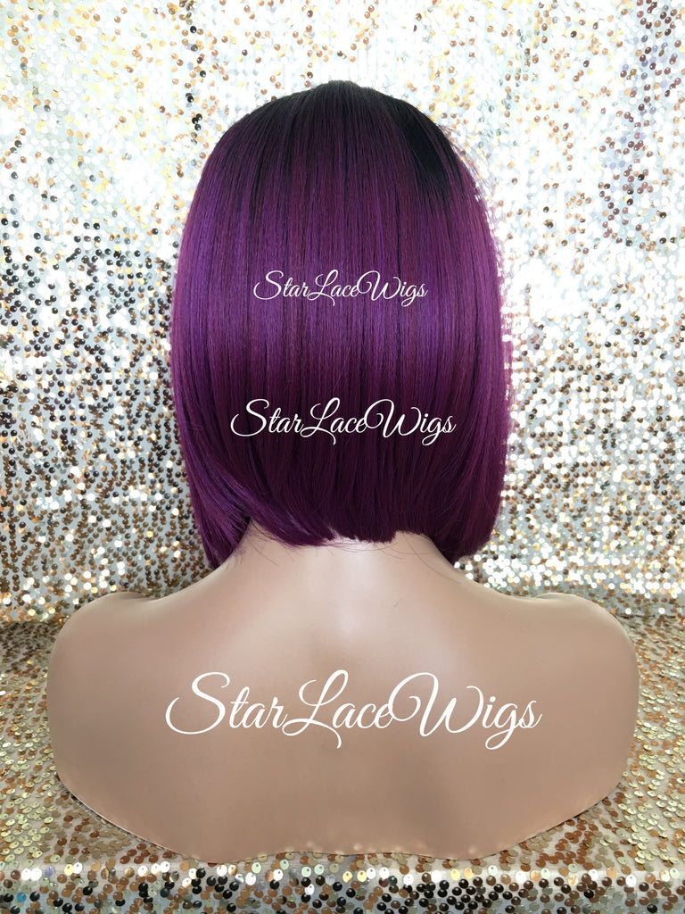 Short Straight Purple Dark Root Synthetic Lace Front Bob Wig - Serenity