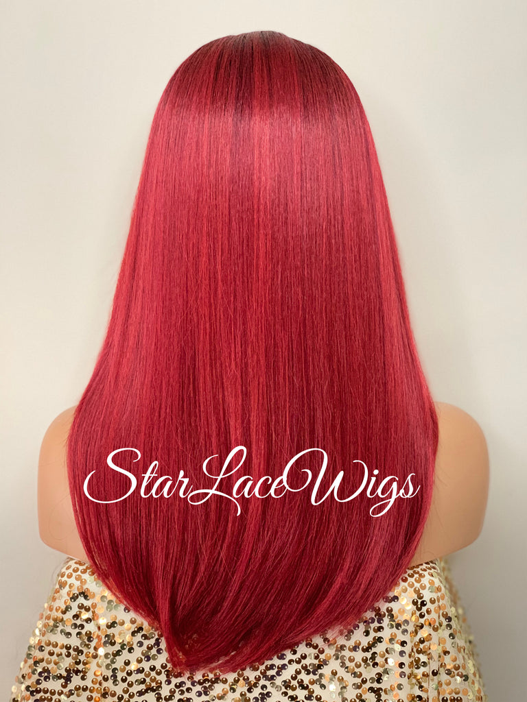 Long Straight Red Black Roots Lace Front Wig (6x13) Parting Space - Anita