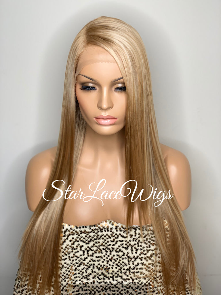 Lace Front Wig Synthetic Blonde Straight Side Part Layers - Sunny