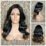 Long Loose Curly Wig Black Highlights #27 Middle Part Synthetic - Clementine