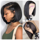 Human Hair Bob Lace Front Wig 13x4 Straight #1b - Kristy