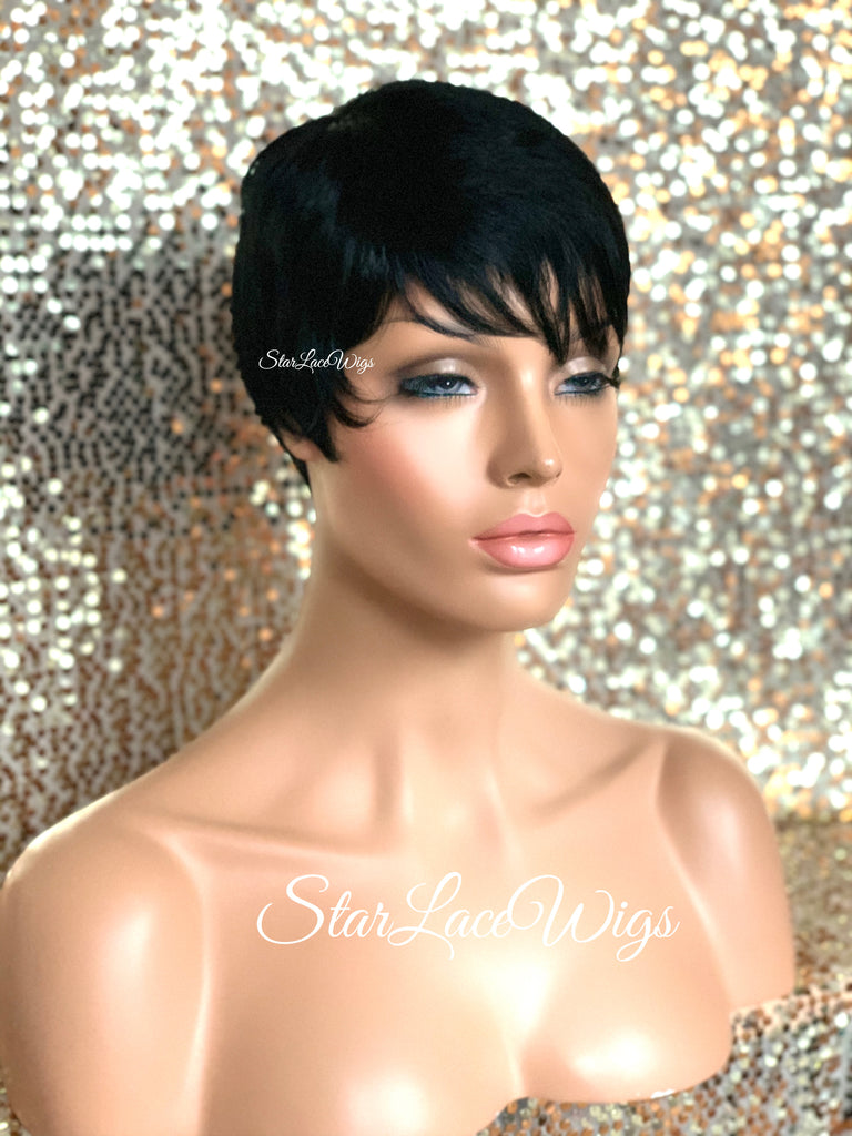 Short Synthetic Wig Black Pixie Bangs - Stacy