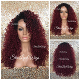 Synthetic Lace Front Wig Burgundy Dark Roots Curly Long - Falon