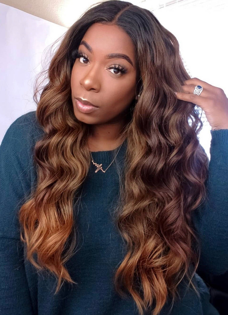 Lace Front Wig Human Hair Blend Brown Wavy Dark Roots Layered Middle Part - Genesis