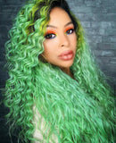 Long Lace Front Wig Wavy Curly Green Dark Roots - Joey