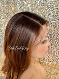 Long Strawberry Blonde Synthetic Lace Front Wig Dark Root Loose Curls #30 - Fancy