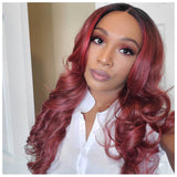 Long Red Curly Synthetic Wig Dark Roots Middle Part - Carter