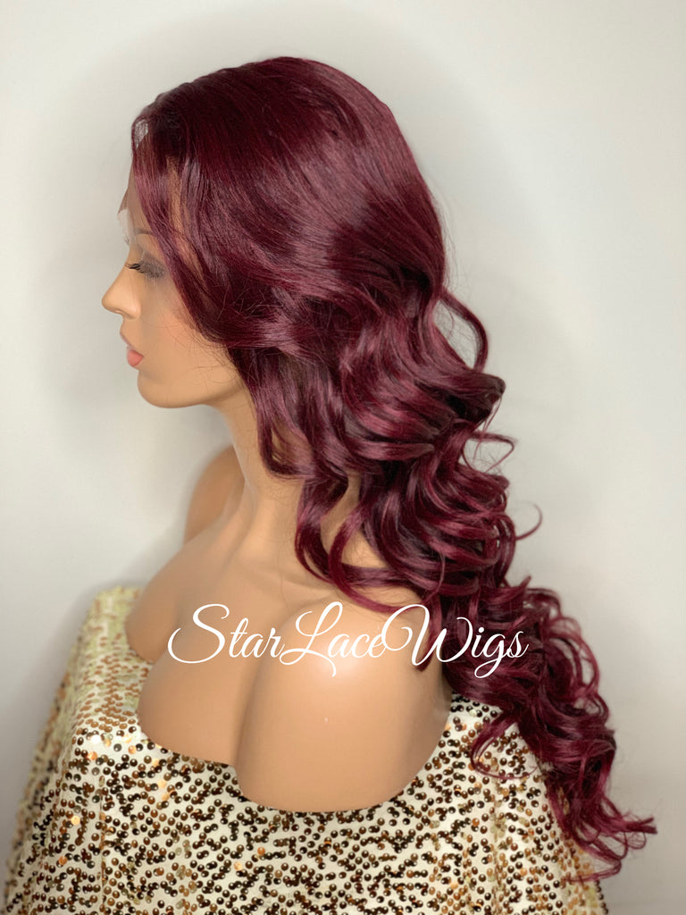 Lace Front Wig Long Synthetic Curly Layers Burgundy Middle Part - Candy
