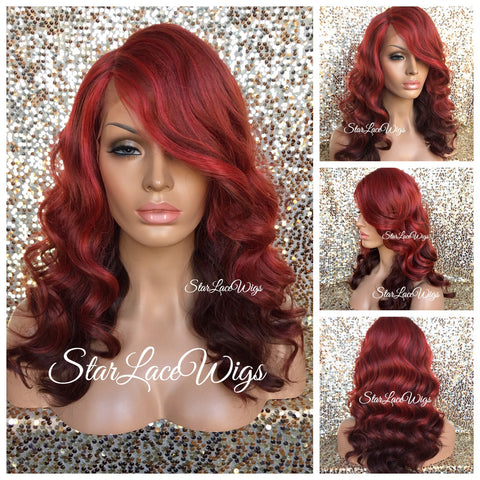 Lace Front Wig Human Hair Blend Dark Burgundy Long Straight Bangs - Lori