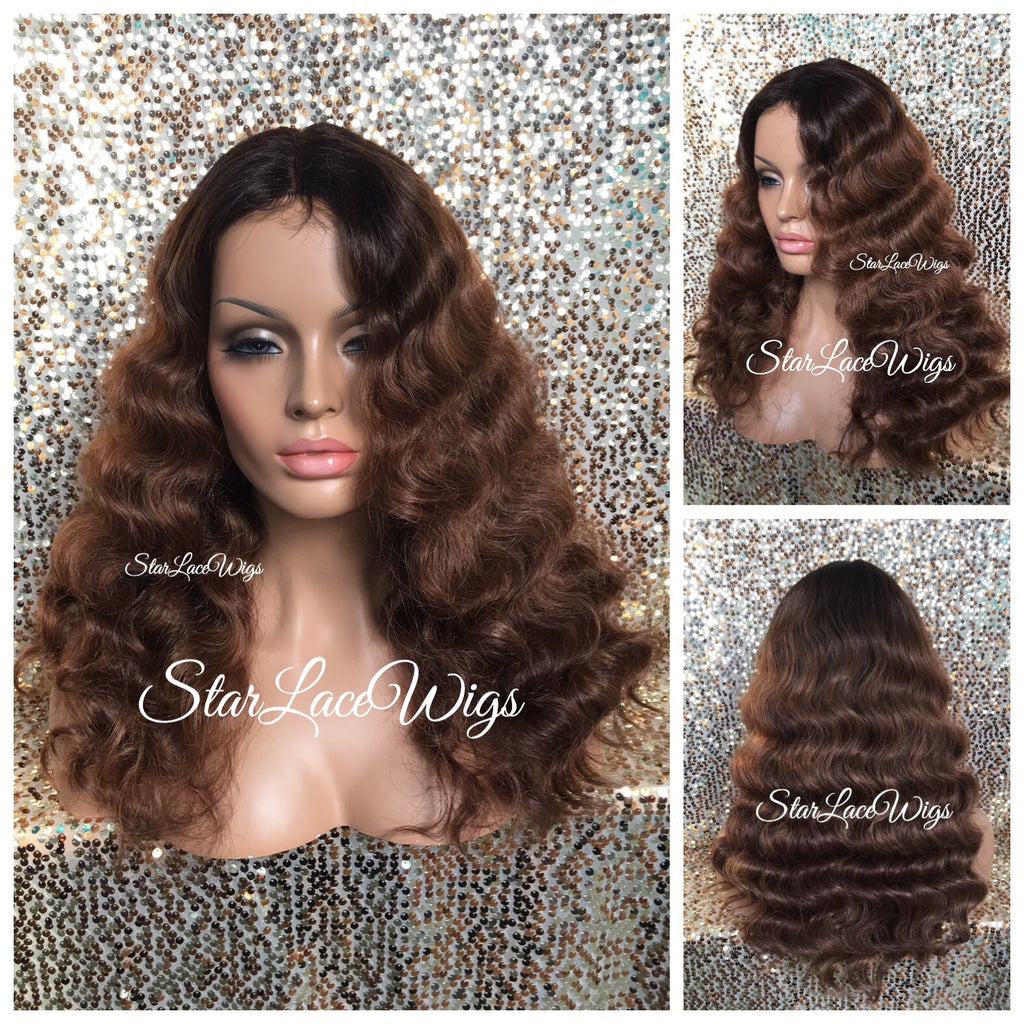 Long Brown Body Wave Wig Dark Brown Roots Middle Part Synthetic - Sally