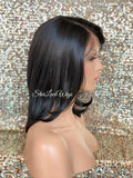 Lace Front Wig Bob Black Side Part Straight Bangs - Elanor
