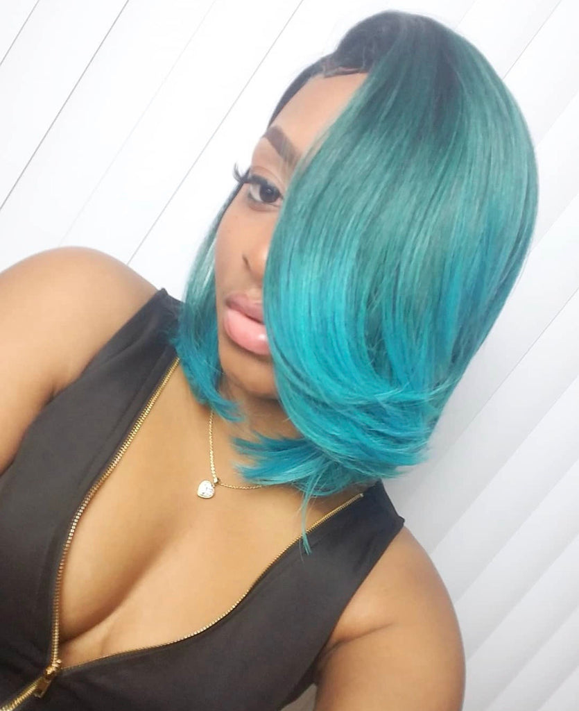 Synthetic Blue Straight Full Layered Bob Wig Side Part - Lila