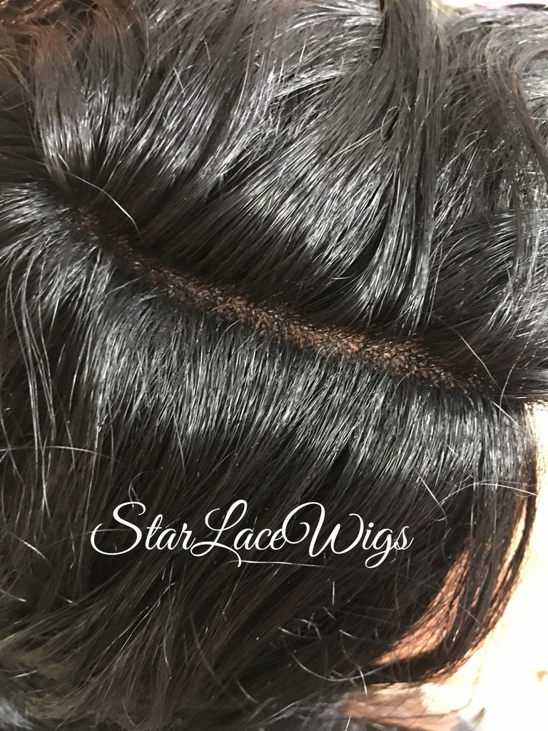 Synthetic Curly Lace Front Wig Black Layers Long - Alexa