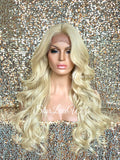 Long Platinum Blonde Curly Layered Synthetic Lace Front Wig - Cindy
