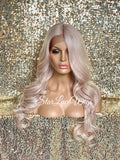 Lace Front Wig Light Pink Long Loose Curls Middle Part - Sara