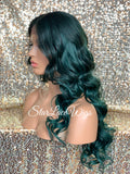 Lace Front Wig Long Synthetic Curly Layers Green Middle Part - Nora