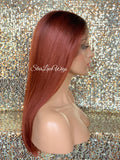 Long Straight Copper Auburn Dark Root Lace Front Wig (6x13) Parting Space - Victoria