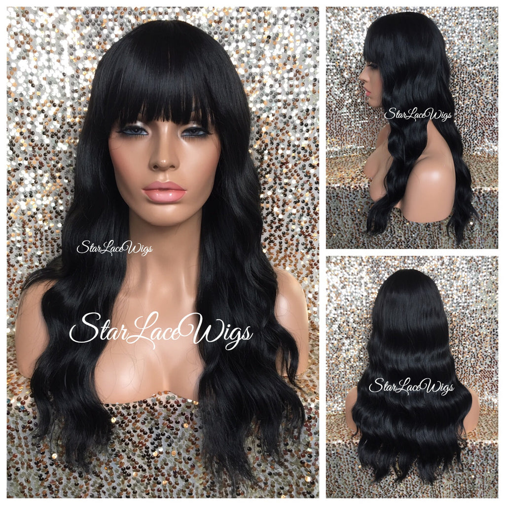 Long Wavy Black Brown Wig With Chinese Bangs - Asia