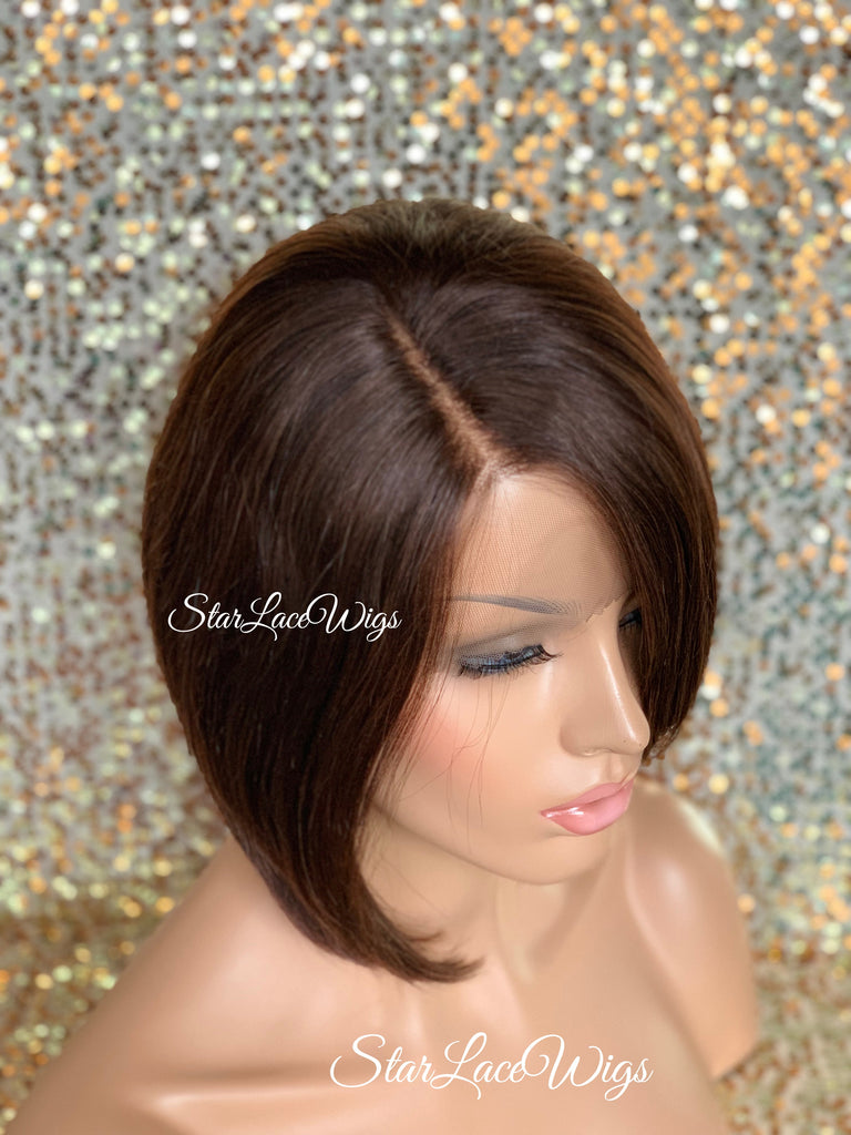 Lace Front Wig Asymmetrical Angled Bob Straight Brown #4 Feathered - Mara