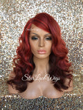 Human Hair Blend Lace Front Wig Red Burgundy Ombre Body Wave Bangs Side Part - Cherish