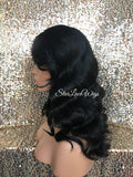 Human Hair Blend Lace Front Wig Black Brown Body Wave Bangs Side Part - Sasha