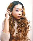 Lace Front Wig Long Synthetic Curly Layers 1b Strawberry Blonde - Jennifer