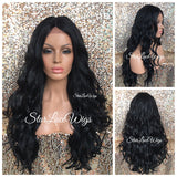 Black Brown Lace Front Wig Synthetic Long Wavy Middle Part Layers - Kiyah