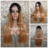 Long Straight Synthetic Lace Front Wig Layered Black Roots #27 Middle Part - Beatrice