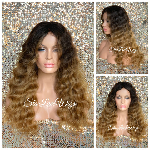 Lace Front Wig Long Curly Burgundy Plum Layers - Gianna