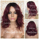Short Loose Wavy Synthetic Bob Wig Burgundy Red Dark Roots Bangs - Jazzy