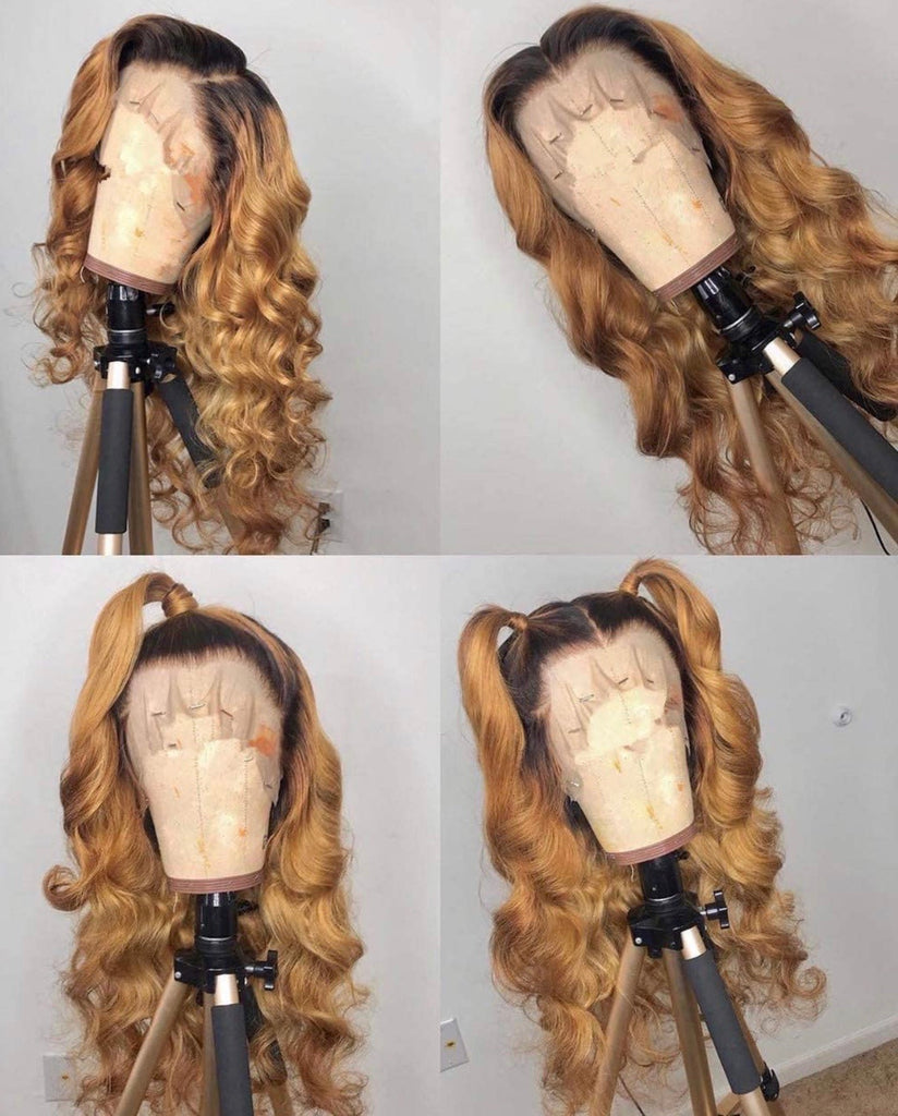 Human Hair Lace Front Wig 13x6 Loose Curls #1b & #27 - Rue