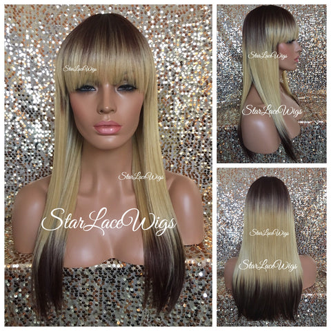 Lace Front Wig Human Hair Blend Straight Layered Bangs - Hayley