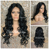 Black Brown Lace Front Wig Synthetic Long Curly Middle Part Layers - LeeLee