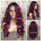 Lace Front Wig Human Hair Blend Burgundy Plum Dark Roots Long Curly Layers - Corrine