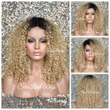 Synthetic Curly Full Wig Blonde Dark Roots Shoulder Length - Dina