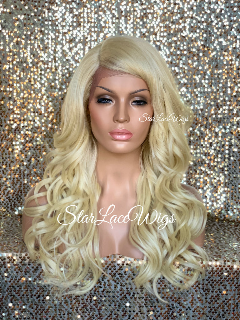 Long Platinum Blonde Lose Curly Layered Synthetic Lace Front Wig Bangs - Jazzy