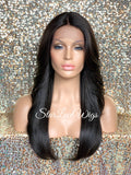 Lace Front Wig Long Synthetic Straight Layers Brown Middle Part - Eliza