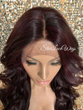 Lace Front Wig Long Synthetic Curly Layers Dark Burgundy Plum Middle Part - Lori