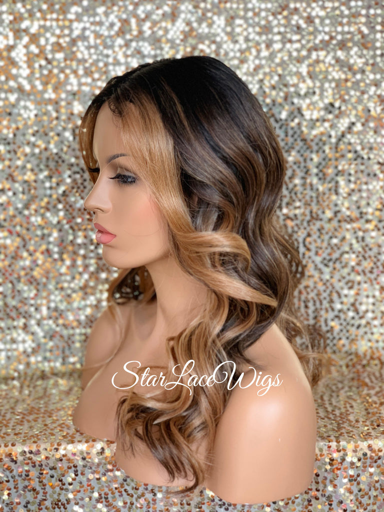 Long Loose Curly Wig Brown Dark Roots Blonde Highlights Middle Part Synthetic - Marcy
