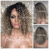 Lace Front Wig Short Curly Ash Champagne Blonde Synthetic Dark Roots - Sonya