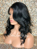 Lace Front Wig Synthetic Curly Side Part Bangs Layers - Drew