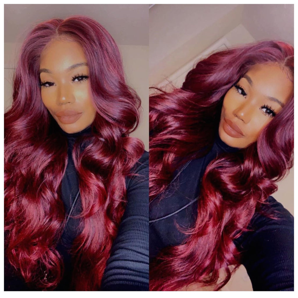 Long Burgundy Wine Wavy Lace Front Wig (6x13) Parting Space - Isabella