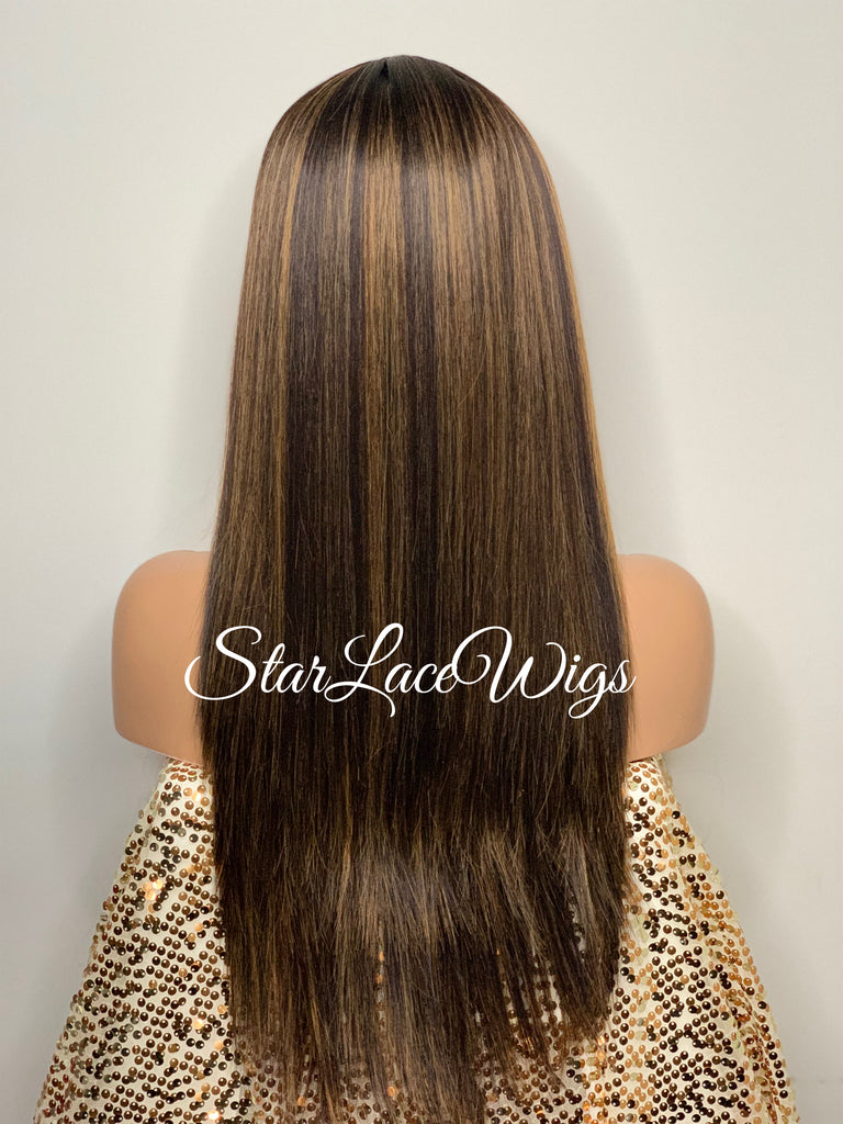 Long Straight Lace Front Wig Dark Brown Middle Part Highlights Synthetic - Mimi