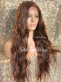 Lace Front Wig Synthetic Auburn Long Wavy Middle Part - Kelly