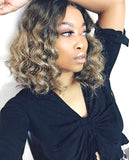 Synthetic Curly Full Bob Wig Dark Ash Blonde Dark Roots  - Mia