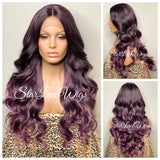 Lace Front Wig Purple Dark Roots Synthetic Long Curly Middle Part - Reign